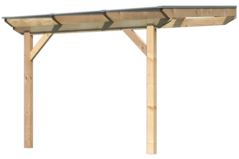 Karibu | Overkapping Premium 2 met Rechte Schoren | Grootte A | 310 x 300 x 257 cm | Douglasie