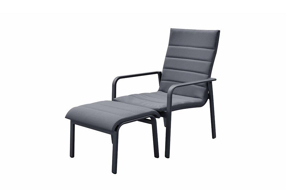 Loungestoel met Voetenbank Santa Monica Antraciet Fonteyn