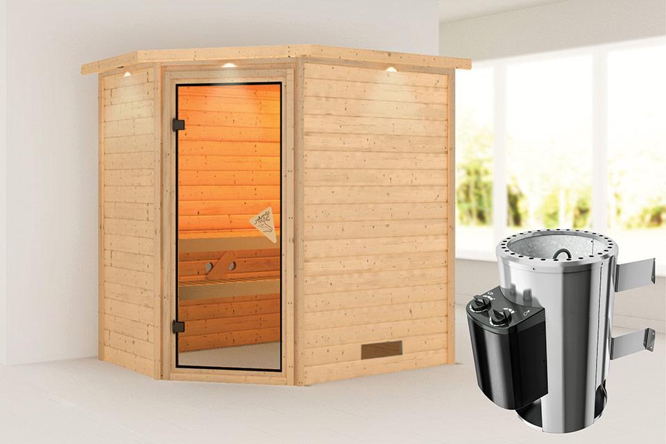 Karibu | Sauna Cilja met Dakkraag | Bronzeglas | Kachel 3,6 kW Geïntegreerde Bediening