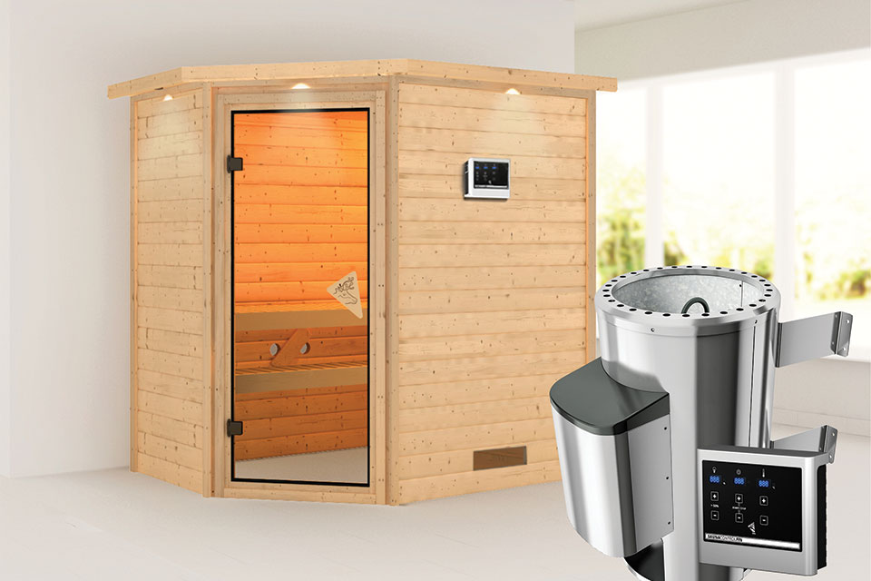 Karibu | Sauna Cilja met Dakkraag | Bronzeglas | Biokachel 3,6 kW Externe Bediening