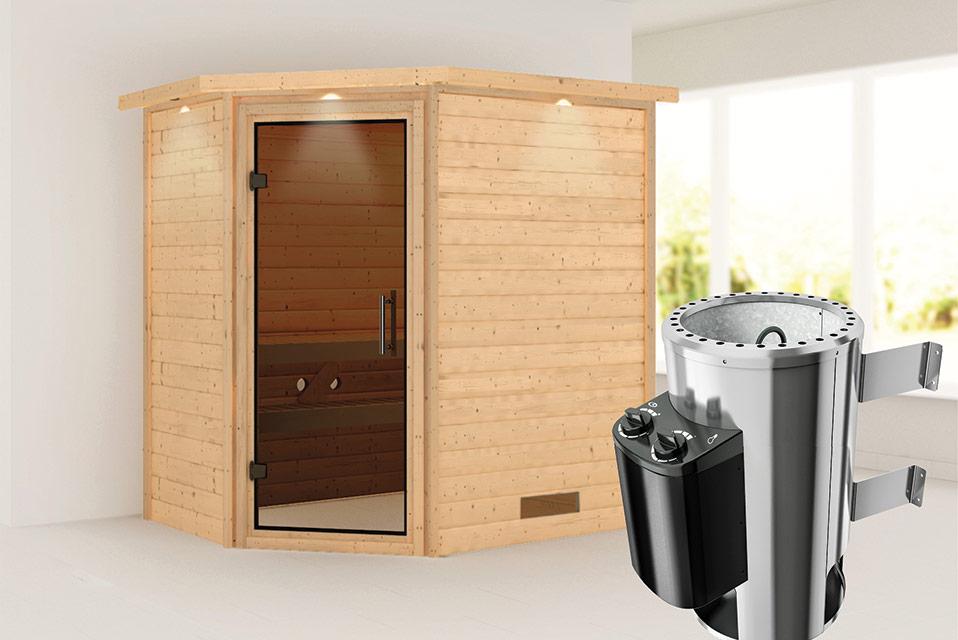 Karibu | Sauna Cilja met Dakkraag | Antracietglas | Kachel 3,6 kW Geïntegreerde Bediening