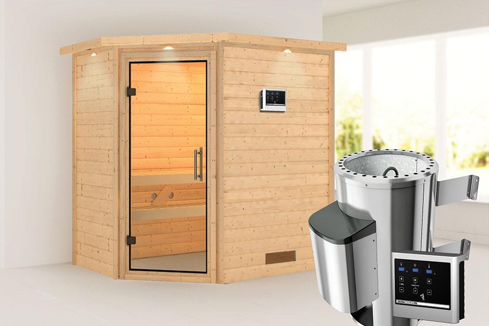 Karibu | Sauna Cilja met Dakkraag | Helderglas | Biokachel 3,6 kW Externe Bediening