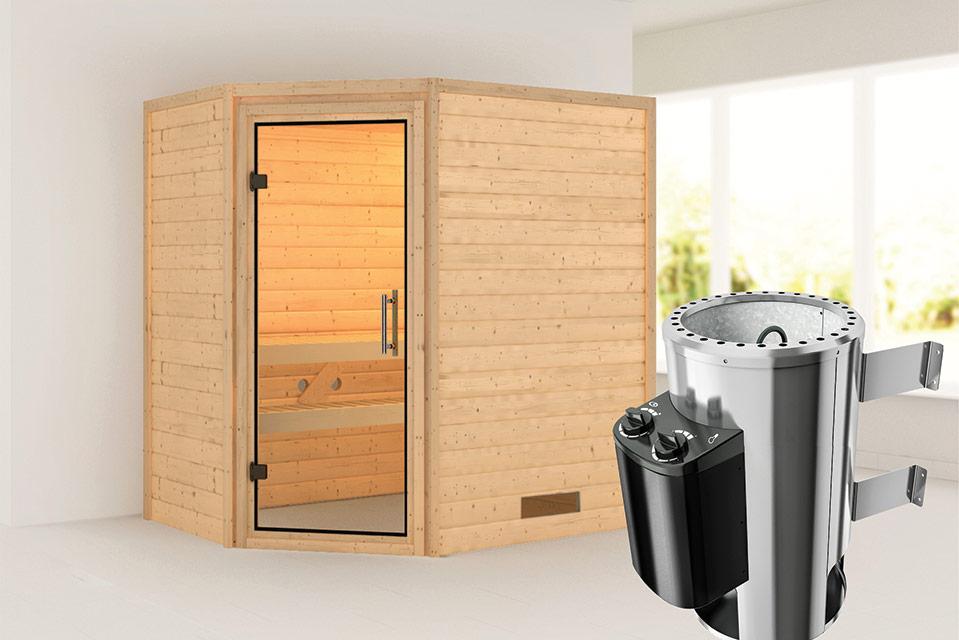 Karibu | Sauna Cilja | Helderglas | Kachel 3,6 kW Geïntegreerde Bediening