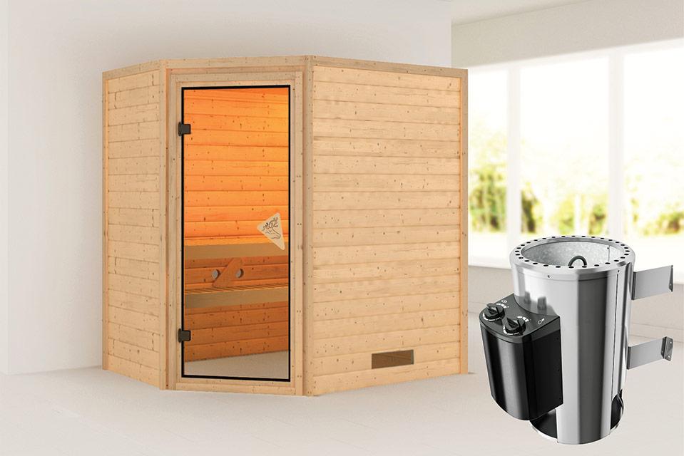 Karibu | Sauna Cilja | Bronzeglas | Kachel 3,6 kW Geïntegreerde Bediening