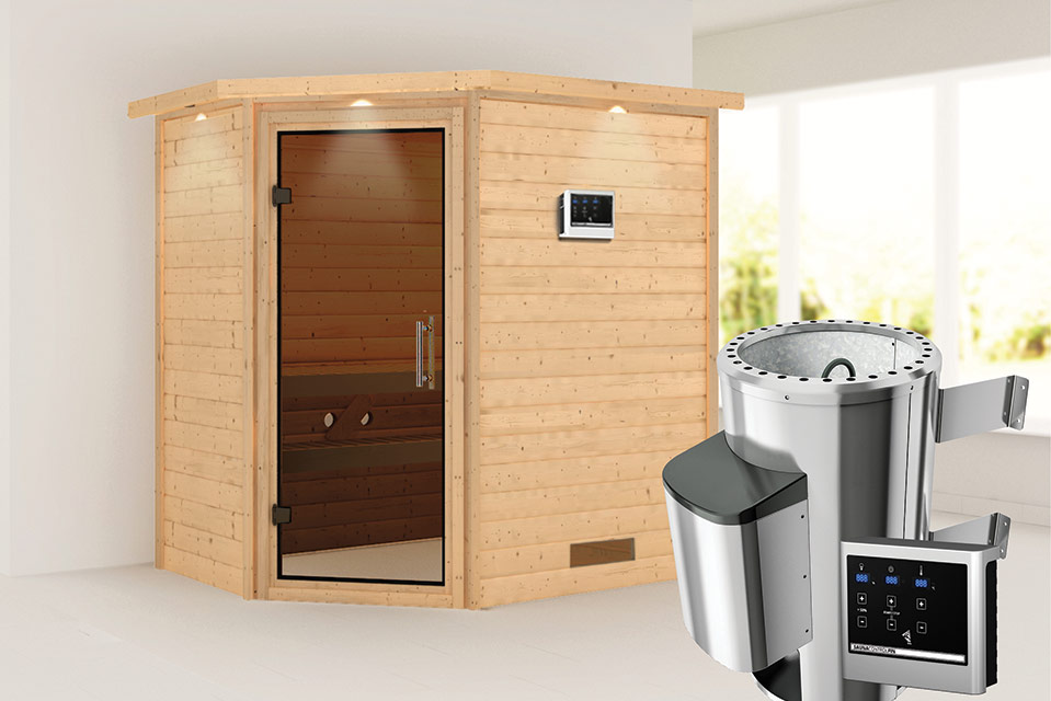 Karibu | Sauna Cilja met Dakkraag | Antracietglas | Biokachel 3,6 kW Externe Bediening