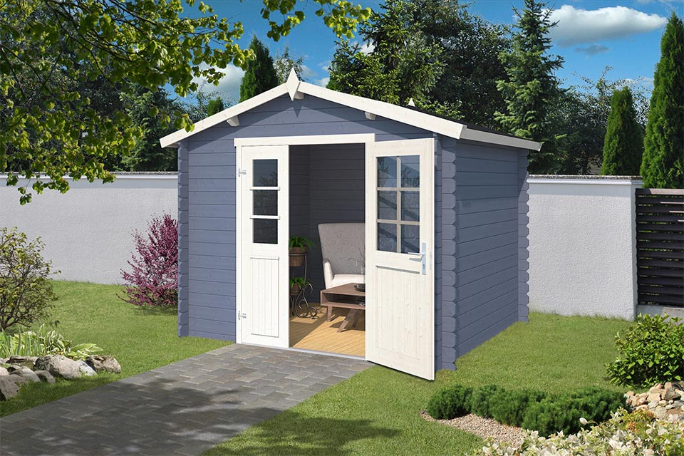 Outdoor Life Products | Tuinhuis Talinn 250 x 220 | Gecoat | Pigeon Blue-Wit