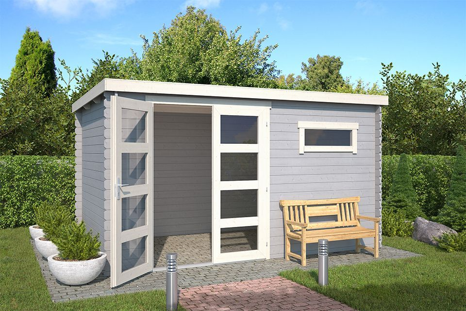 Outdoor Life Products | Tuinhuis Timian 380 x 230 | Gecoat | Platinum Grey-Wit