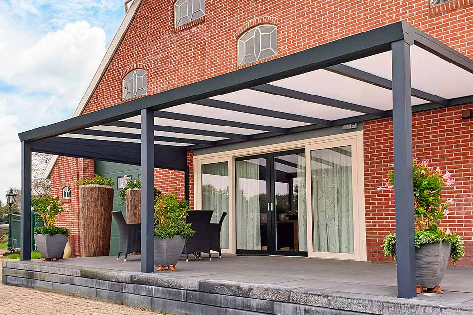 Aluxe Trendline veranda met glas 7000x3500