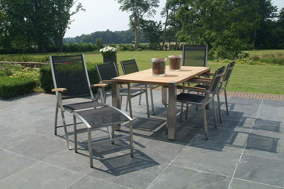 Tuinset Eetset Nexxt Stapelbaar | RVS-Textilene | 4 Seasons Outdoor!