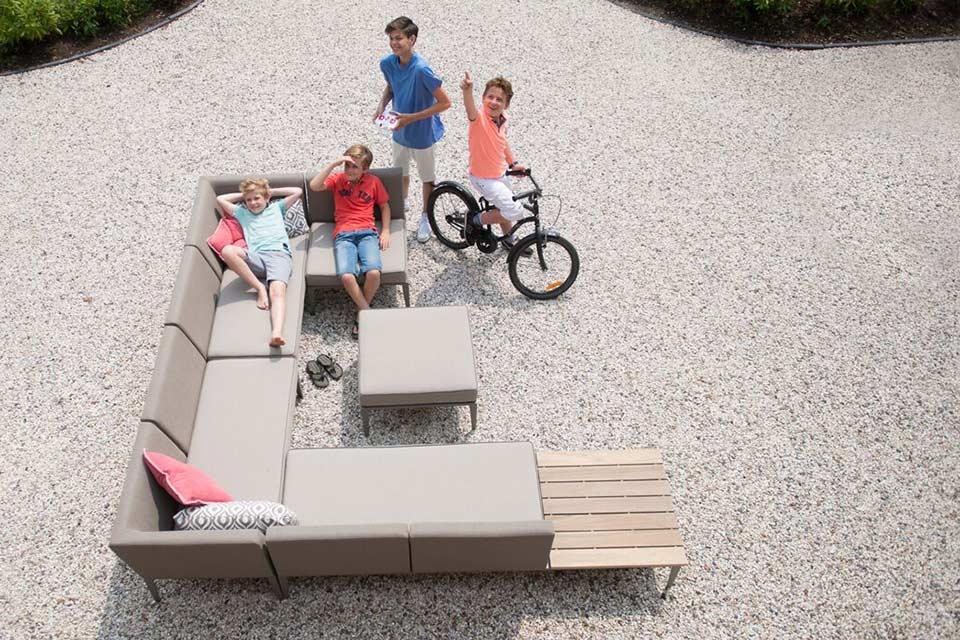 Loungeset Hoekbank Quote Modular Living | Textileen Aluminium | 4 Seasons Outdoor!