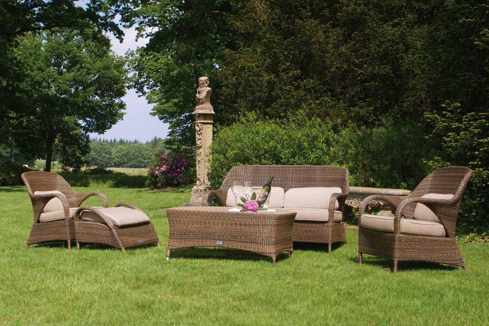 Voetenbank Footstool Sussex | Polyloom Wicker | 4 Seasons Outdoor!