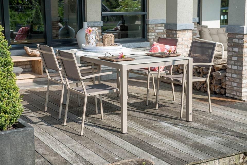 Tuinset Eetset Tuinstoel Plaza Rivoli   Aluminium-Textilene   4 Seasons Outdoor!