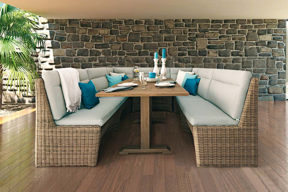 Lounge-Diningset Esquina | Biculair Wicker | 4 Seasons Outdoor!